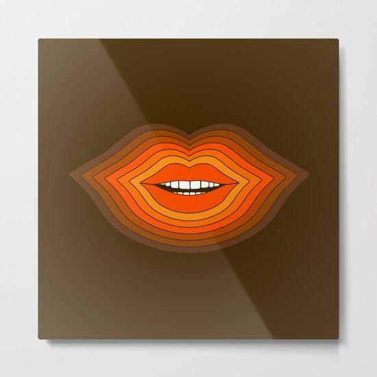 Pop Lips - Golden Metal Print