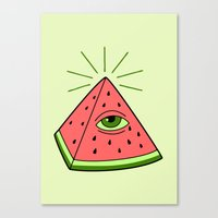 watermelon Canvas Prints featuring watermelon by gotoup