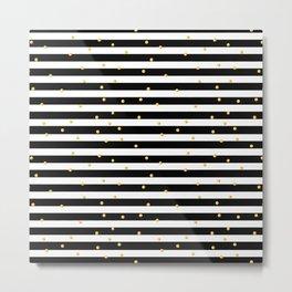 Modern black white gold polka dots striped pattern Metal Print