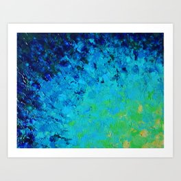 TRUE REFLECTION - Ocean Water Waves Ripple Light Impressionist Bright Colors Ombre Painting Art Print
