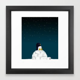 Star gazing - Penguin's dream of flying Framed Art Print