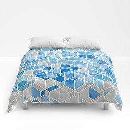 Cubes & Diamonds in Blue & Grey  Comforters
