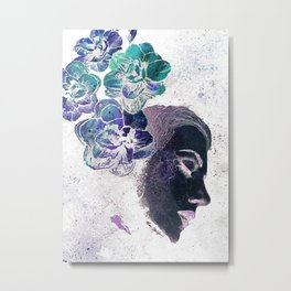 Obey Me: Negative (flower lady graffiti painting) Metal Print