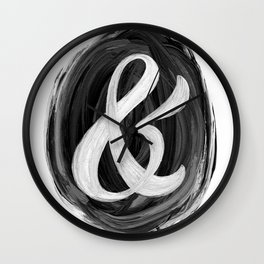 Thick Swirl Ampersand Black & White Wall Clock