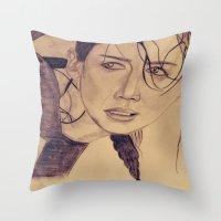 katniss Throw Pillows featuring Katniss Everdeen by KOverbee