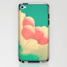 Happy Pink Balloons on retro blue sky  iPhone & iPod Skin