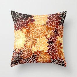 Space Dahlias Golden Bronze Throw Pillow