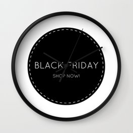 Black Friday shopping sign : Shop now! Stylish icon BW Wall Clock