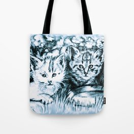 Blue Baby Cats Tote Bag