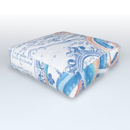 Octopus Tentacles Blue Vintage Map Outdoor Floor Cushion