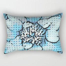 Altered Art Blue Dot Flower Special Digital Effect Rectangular Pillow