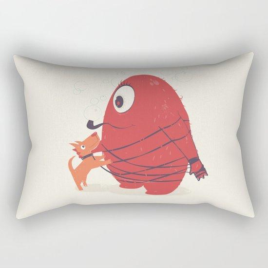 Cyclopes Monster Blob & Orange Dog Rectangular Pillow