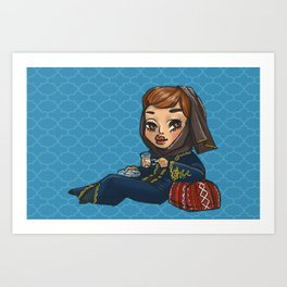 Khaleeji Hijabi with Tea Art Print