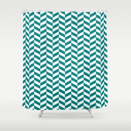 Teal Green Herringbone Pattern Design Shower Curtain