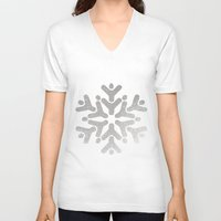 snowflake V-neck T-shirts featuring Snowflake by iMei