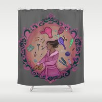 makeup Shower Curtains featuring Makeup Witch by adorkablyfeline