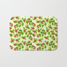 Cranberry Fruit Pattern on Green Bath Mat