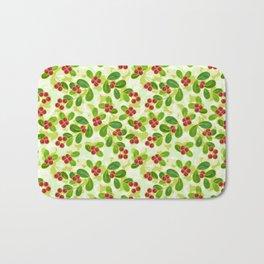 Cranberry Fruit Pattern on Green Bath Mat