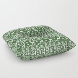 Bloodhound fair isle christmas sweater green and white minimal dog silhouette holiday gifts Floor Pillow