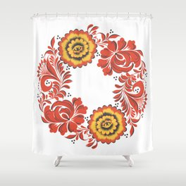 Flowers khokhloma Shower Curtain