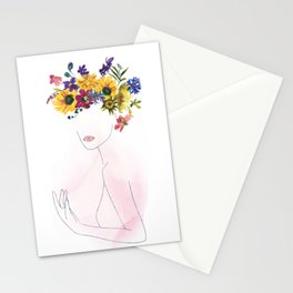 Mimimal Line Art Drawing Woman With Watercolor Summer Flowers Wreath Stationery Cards