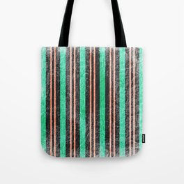 Grungy vertical stripes green and tangerine Tote Bag