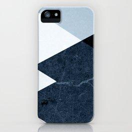 Geometrics II - blue marble & silver iPhone Case