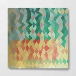 Emerald Green Harlequins Abstract Low Polygon Background Metal Print
