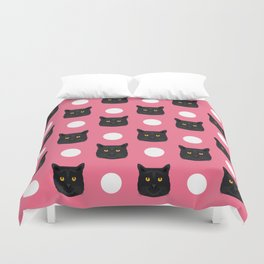 Black Cat polka dots pastel pink girly cat lady hipster gift kitten cat person customizable cat gift Duvet Cover