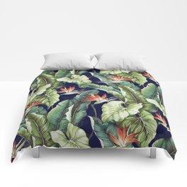Night tropical garden II Comforters