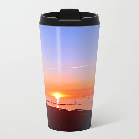 Kayak Silhouette at Sunset Metal Travel Mug