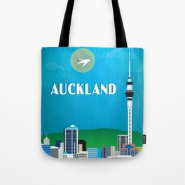 Auckland, New Zealand - Skyline Illustration by Loose Petals Tote Bag
