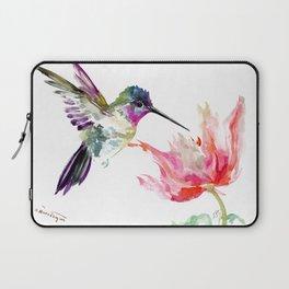 Little Hummingbird and Pink Flower, Bird art, minimalist bird painting, soft pink olive green design Laptop Sleeve