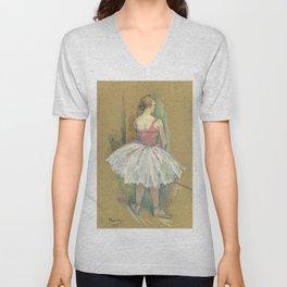 """Henri de Toulouse-Lautrec """"Danseuse en pied. Vue de dos (Standing dancer. Back vue)"""" Unisex V-Neck"""