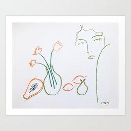 Flowers and papaya sketch Art Print