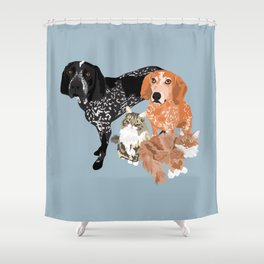 Lady, Blue, Leo and Butch Shower Curtain