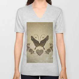 Beautiful elegant butterflies with heart Unisex V-Neck