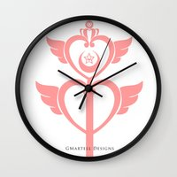 martell Wall Clocks featuring Sailor Moon Inspired Wand Pink by G Martell