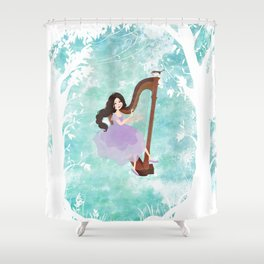 Harp girl 6: Music from the forest Shower Curtain