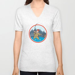 Fly Fisherman Catching Trout Fish Cartoon Unisex V-Neck