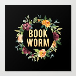 Autumn Bookworm - Black Canvas Print