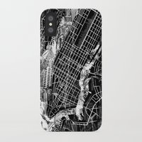 new york map iPhone & iPod Cases featuring New York map by Bekim ART