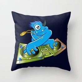 Blue monster dj hip hop Throw Pillow