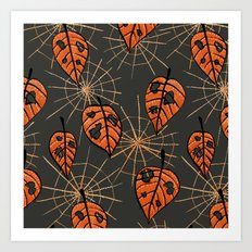Orange Leaves With Holes And Spiderwebs Art Print