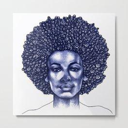 Spiral Afro Metal Print