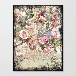Shabby Chic Rococo Roses Canvas Print