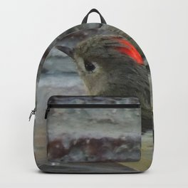 Ruby-Crowned Kinglet At The Fountain Backpack