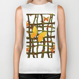 GOLDEN BUTTERFLIES THORN BRANCHES TRELLIS  PATTERN Biker Tank