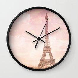 Paris in Pink Wall Clock