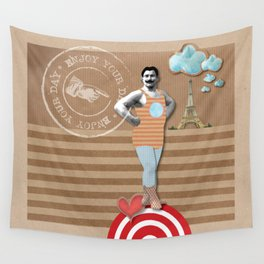 Vintage Strong Man Wall Tapestry
